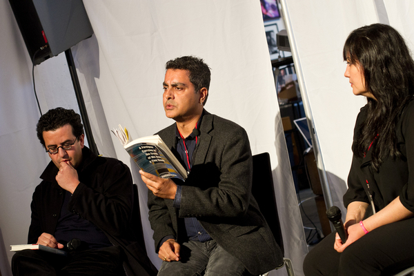 "(L-R) Hisham Matar, Amitava Kumar and Zohra Saeed at the ""War and its Representations"" panel discussion at last Saturday's AAWW event. Photo Credit: Preston Merchant"
