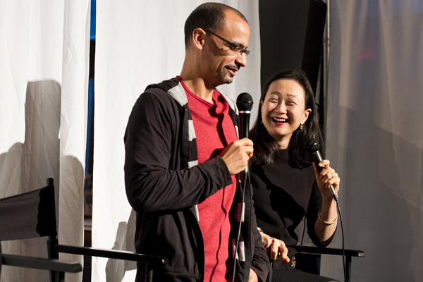 Pulitzer Prize winning author Junot Diaz (L) hangs out with author Min Jin Lee (R). Photo Credit: Preston Merchant
